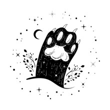 Cute Dark Witchy Illustration With Cat's Paw. Tattoo Art Style. Gothic Motifs.