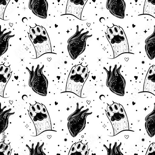 fototapeta na szkło Dark gothic pattern with cat's paw and hearts.