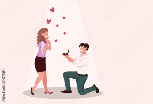 man kneeling holding engagement ring proposing to surprised woman marry him happ Poster Mural XXL