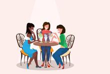 Women Friends Sitting Cafe Eat...