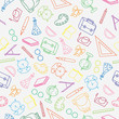 Hand drawn pattern back to school and education with color thin line icons school supplies on white background.