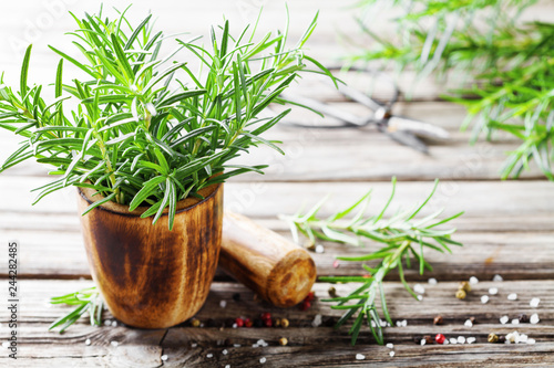 Fresh aromatic rosemary in mortar bowl for cooking.