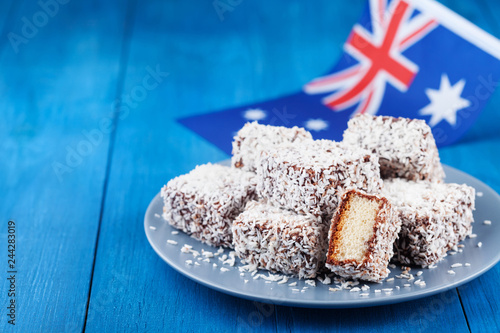 Traditional Lamington cakes or dessert for Australia Day party.