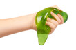 canvas print picture - kid playing green slime with hand, transparent toy