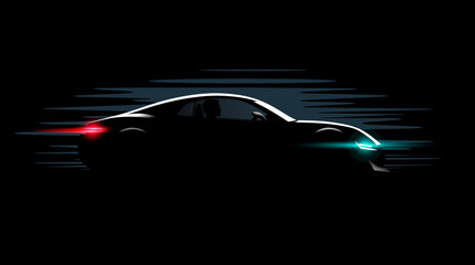 realistic sport super car coupe side view lighting in the dark, vector illustration