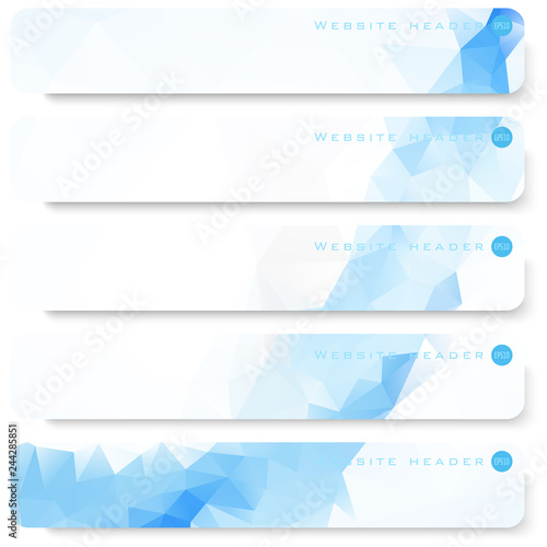 Fototapeta Vector design template set of banner, header for website with triangle geometric background obraz