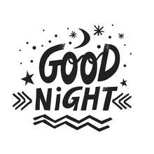 Vector Hand-drawn Lettering Good Night With Moon, Stars And Snowflakes