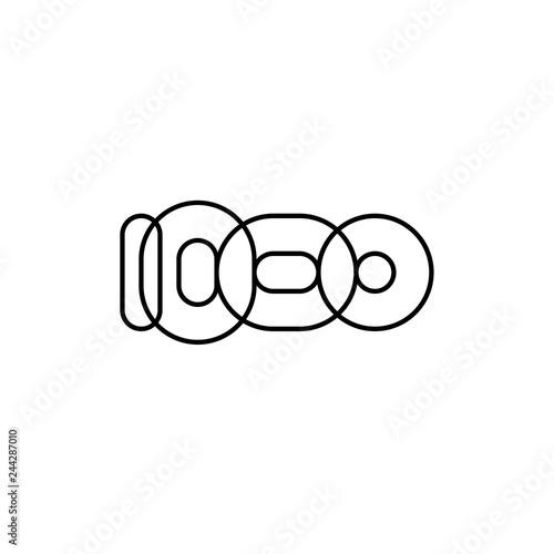 Fotografía  One thousand, mono line. Four rounded figures.