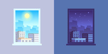 Window View. Day And Night Cartoon Vector Concept