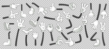 Cartoon Legs And Hands. Legs In Boots And Gloved Hands. Vector Isolated Illustration Set