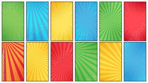Comic book halftone background. Vintage superheroes comics poster backdrop, halftone texture and superhero vector backgrounds