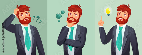 Thoughtful man. Male ask questions, doubt or confused and found question answer. Thinking serious decision cartoon vector illustration