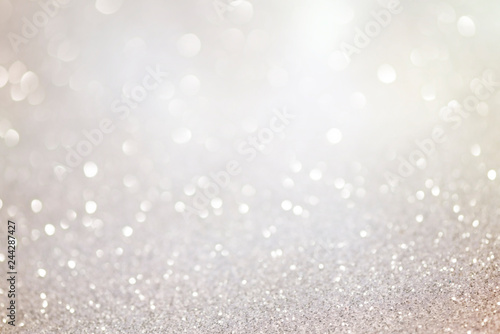 Silver glittering christmas lights. Blurred abstract background Tableau sur Toile
