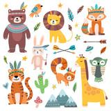 Fototapeta Fototapety na ścianę do pokoju dziecięcego - Funny tribal animals. Woodland baby animal, cute wild forest fox and jungle tribals zoo isolated cartoon vector character set