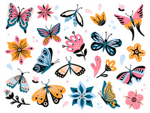 Spring Flowers And Butterflies. Colorful Garden Flower, Floral Decor And Elegant Butterfy Isolated Vector Set