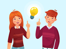 Young People Have Idea. Students Couple Having Solution, Teenagers Ideas Lamp Bulb Metaphor And Teen Cartoon Vector Illustration