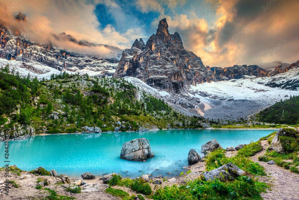 Amazing alpine landscape with turquoise glacier lake, Sorapis, Dolomites, Italy