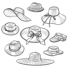 Set Of 9 Sketches Of Fashion Women's Straw Hats. Hand Drawn Vector Illustration. Isolated