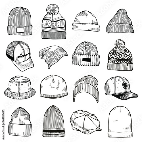Set of fashion men s caps and hats sketches  baseball caps af237e226a96