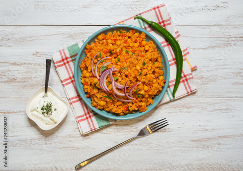 Arabic Food: Bulgur wheat, vegetable and chickpea pilaf.
