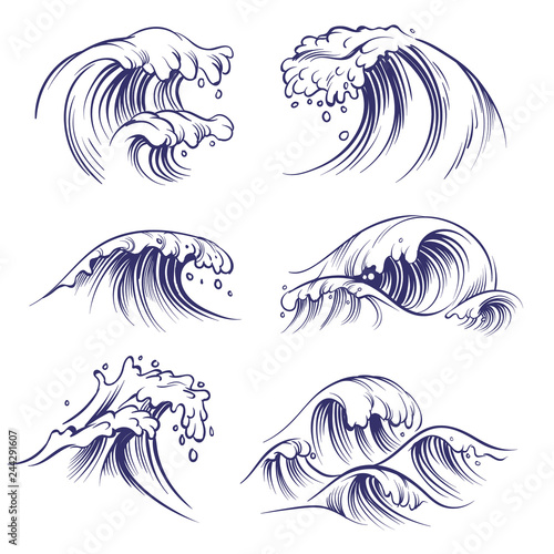 Sketch wave. Ocean sea waves splash. Hand drawn surfing storm wind water doodle vector collection Wall mural