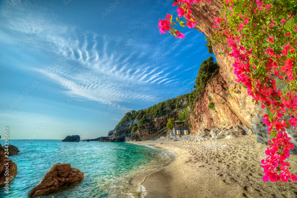 Fototapeta Beautiful vacation landscape in Greece,  sea and beach in summer holiday in Corfu island