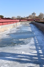 Frozen River At Tian'anmen Square Near The Forbidden City In Beijing, China