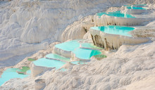 Pamukkale, Natural Pool With Blue Water, Turkey Tourist Attraction