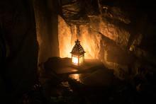 Beautiful Colorful Illuminated Lamp In The Garden In Misty Night. Retro Style Lantern At Night Outdoor.