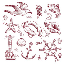 Sketch Marine Set. Sea Ocean Voyage Lighthouse Seagull Starfish Anchor Steering Wheel Fish. Navy Nautical Hand Drawn