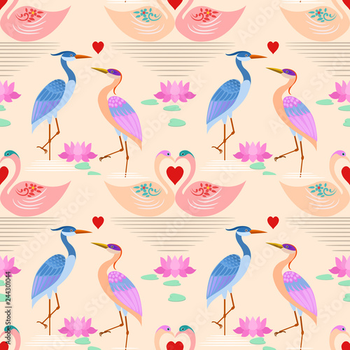 Canvas Prints Flamingo Bird Swan in love swim in the water with heart shape pattern.
