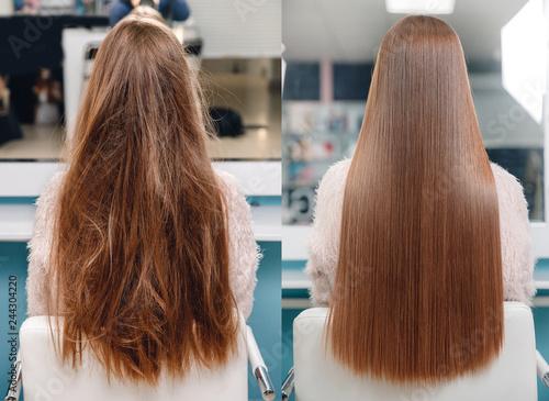 Fotografia Sick, cut and healthy hair care keratin