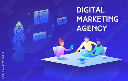 Photo Colorful illustration of a modern digital marketing agency