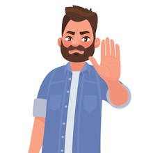Serious Man Shows Stop Gesture. Vector Illustration