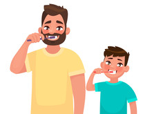 Father And Son Brush Their Teeth With Toothpaste. Mouth Hygiene. Vector Illustration