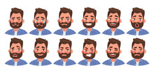 Set Of Different Emotions Male Character. Handsome Man Emoji With Various Facial Expressions