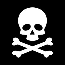 Modern Flat Skull Crossbones Icon Isolated On Black Background