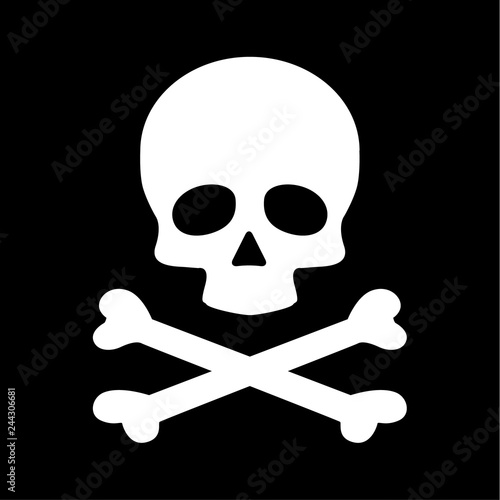 Photo  Modern flat skull crossbones icon isolated on black background