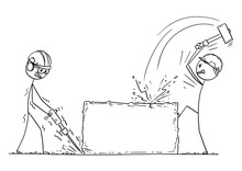 Cartoon Stick Drawing Conceptual Illustration Of Two Workers, Workmen Or Labourers Working With Hammer Drill On Big Pice Of Rock Or Stone. Can Work As Sign For Your Text.