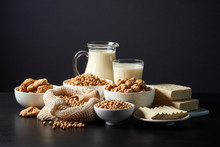 Soy Products On Black Background
