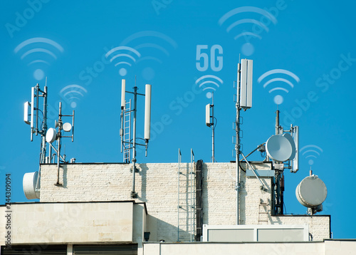 Fotografie, Tablou  5G antennas and GSM transmitters