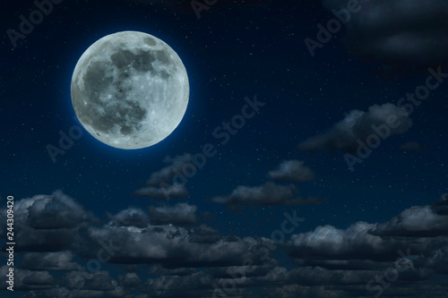 Fototapety, obrazy: Moon and clouds in the night. Moonlight background.