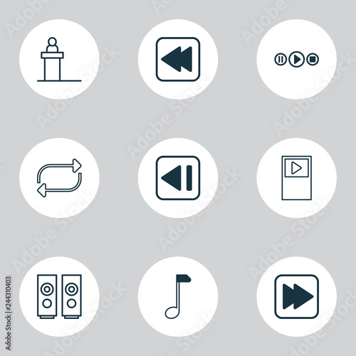 Music icons set with previous music, note, audio buttons and