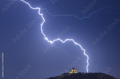 Fotografie, Obraz  Turin lightnings over the Basilica of Superga