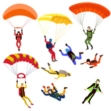 Set Of Parachutists Involved In Dangerous Sports Making Jumps In The Sky With A Parachute. Extreme Sport.