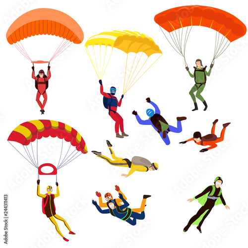 Fotografie, Obraz  Set of parachutists involved in dangerous sports making jumps in the sky with a parachute
