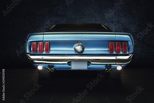 Photo Mustang Ford Oldtimer - classic Car (blaues Auto mit Hintergrund schwarz) Studio