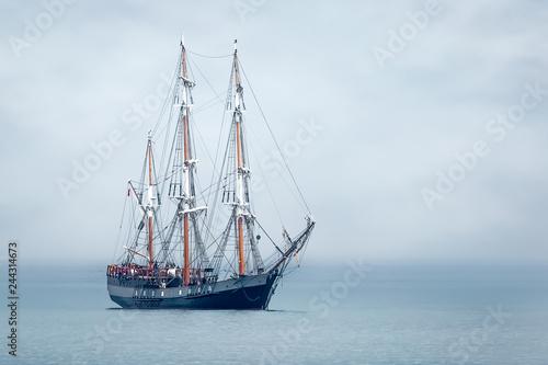 Tall Ship anchored in St Austell Bay, Cornwall © mickblakey
