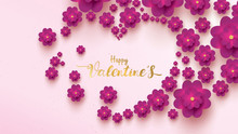 Happy Valentines Day Greeting Card With Pink And Purple Flower Rose Shape Love. Floral Background Concept Suitable For Copy Space Text Wallpaper, Flyers, Invitation, Posters, Brochure, Banners