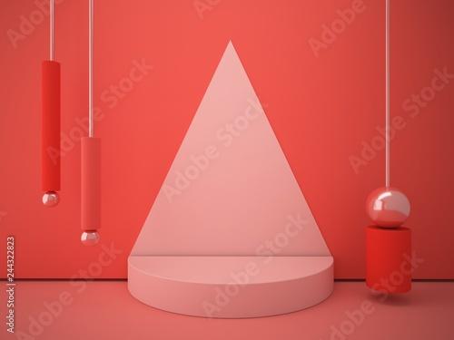 Fotografía  Cylindrical podium with decorative geometric shapes